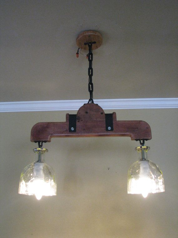 Hanging Pendant Light Rustic Double Bar By GreatWoodenCreations