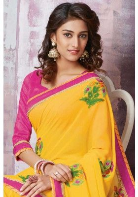 Maize #Yellow Faux #Georgette Casual #Embroidered Saree Sku Code: 10-5721SA937281 US $45.00 http://www.sareez.com/catalog/product/view/id/67273/s/maize-yellow-faux-georgette-casual-embroidered-saree/category/90/