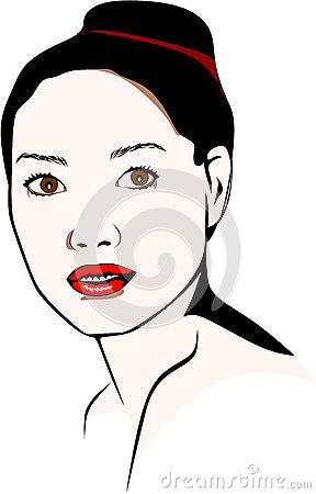 Colored vector illustration of an Asian woman who wears a bun with red lipstick.