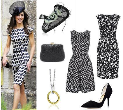 Classic Race Wear | Get inspired for the races by the super stylish Kate Middleton. Get this fabulous black and white outfit with fashion from Vera Mont, Closet, Jacques Vert, Michael Kors, Serpui Marie and Maya Magal.