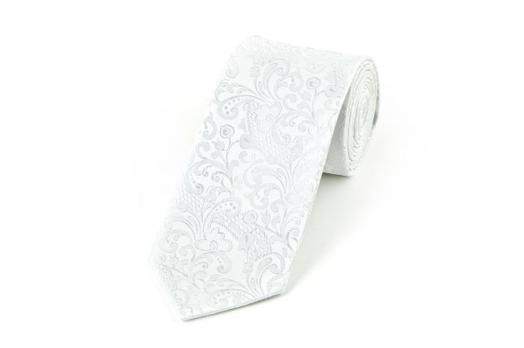 White Floral Vest Fabric Wedding Necktie