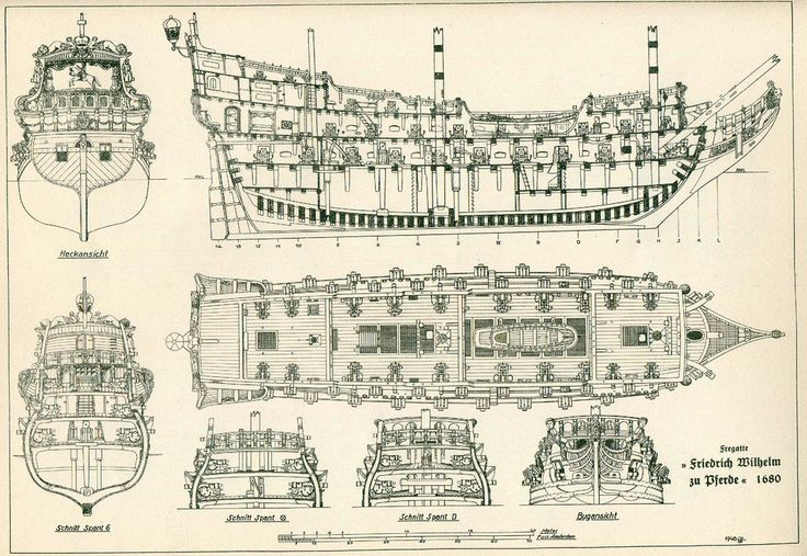 Planos del interior de una nave.
