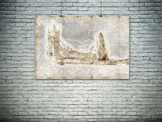London wall art London map photo large format by PasteUpStore