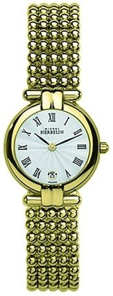 Michel Herbelin Ladies Silver Dial Gold Plated Perle Bracelet Watch 16873/BP08
