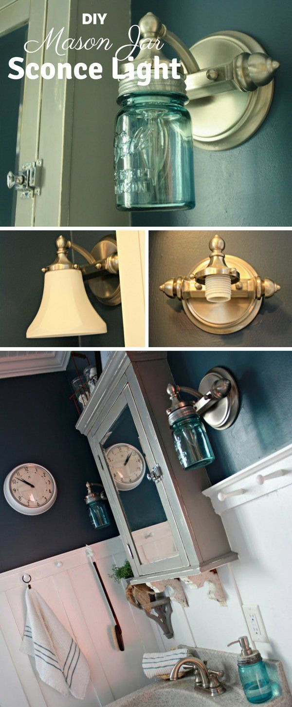 Easy to make DIY Mason Jar Sconce Light for rustic bathroom decor @istandarddesign