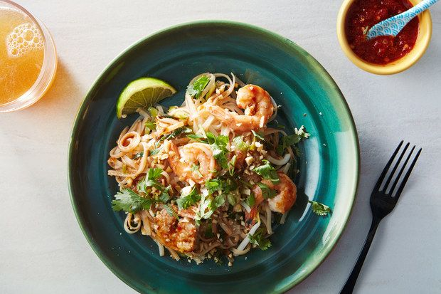 22 minute Pad Thai Recipe Image w/ sauce / Photo by Chelsea Kyle, Food Styling by Mindy Fox