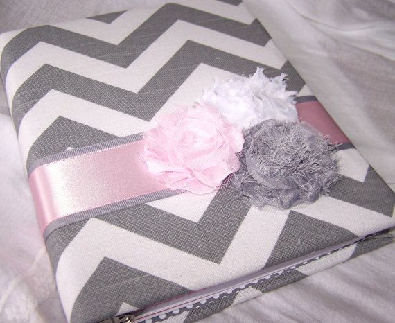Guest Book- Baby Shower, Bridal Shower or Birthday Party, Grey Chevron fabric, Pink and Gray, Custom Colors available on Etsy, $56.00