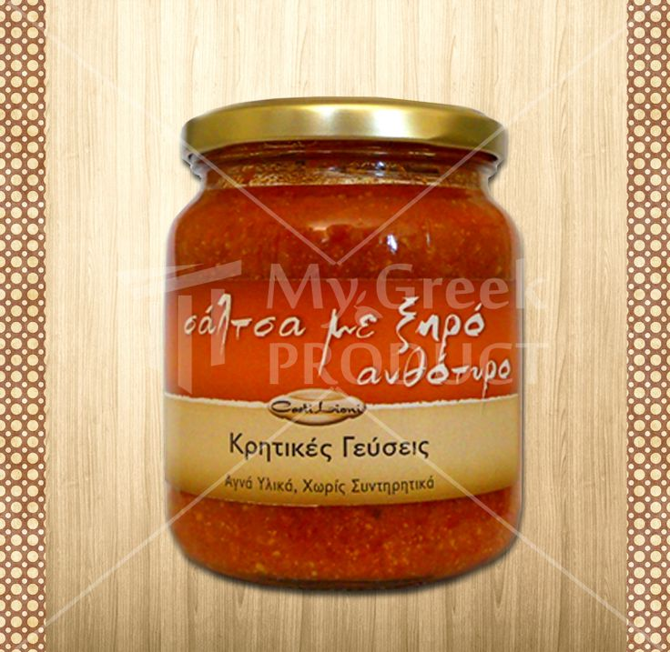 "Tomato Sauce with Greek Cheese Anthotiro ""Castilioni"" 350g, from Gefira Zouridas, Crete. Made in small batches with Crete's delicious tomatoes and the unique high quality tasty anthotiro cheese.  see more at.... http://mygreekproduct.com/index.php?id_product=139&controller=product&id_lang=1"