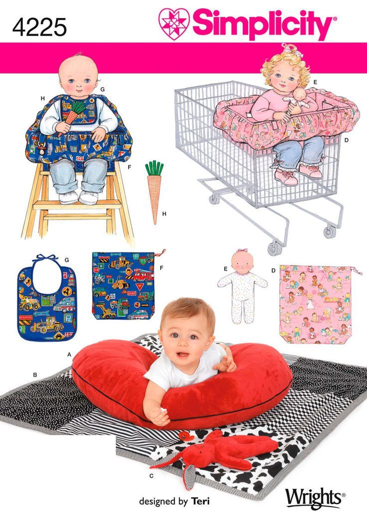 4225 Crafts Baby Accessories: Pillow Cover, Quilt, Bunny, Seat Covers, Doll, Bib and Carrot