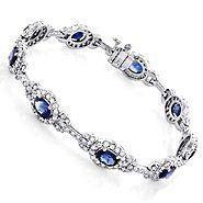 Ladies Blue Sapphire Diamond Bracelet 8.98ct 18k Gold
