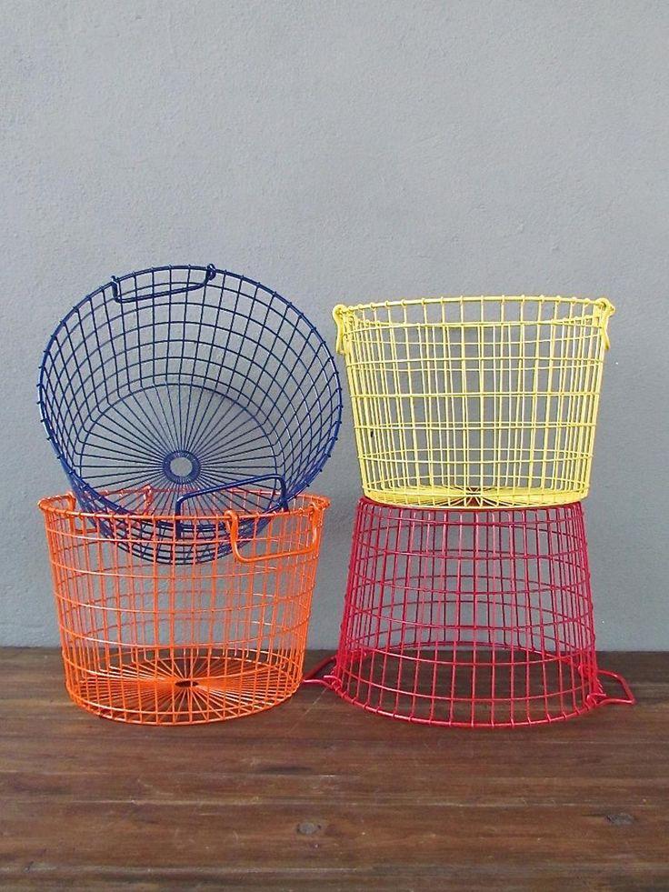 metal storage basket -- entryway/mudroom. redinfred