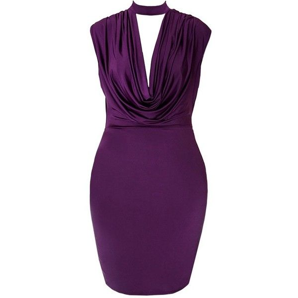 Plus Size Cowl Neck Choker Dress, Deep Plum ($30) ❤ liked on Polyvore featuring dresses, short dresses, plus size purple dress, plus size dresses, fitted dresses, purple dress and plum cocktail dress