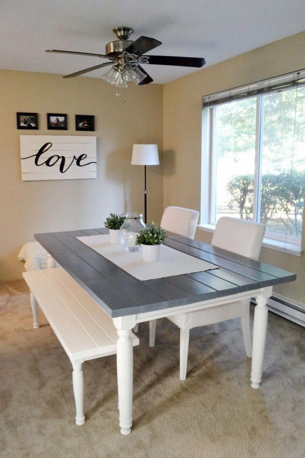 Weathered Grey Farmhouse Style Dining Table
