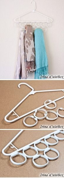 Have a ton of scarves and no idea how to store them? This seems to solve that! Take a plastic coat hanger and a set of plastic shower curtain hooks, and you can either glue the hooks together to the hanger, or, you could just put the hangers on the coathanger and voila. Scarfs organized.