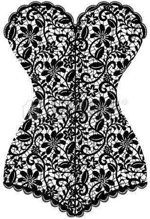 Dentelle corset noir vintage isol sur blanc Banque d'images