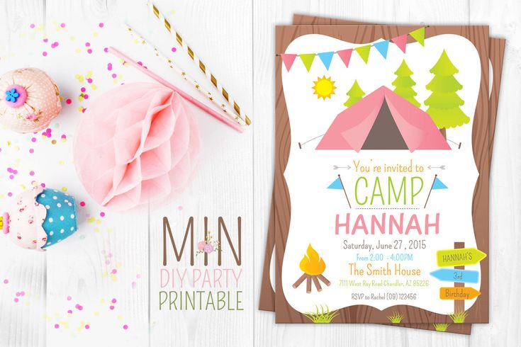 Camping Invitation, Camping Invite, Glamping Invitation, Girls Camping Invitation, Glamping Invite, Girls Camping by minprintable on Etsy https://www.etsy.com/listing/255164908/camping-invitation-camping-invite