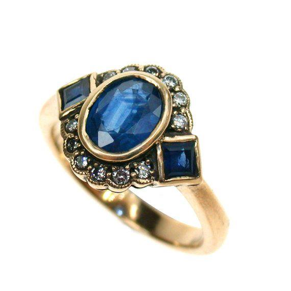 9ct Solid Gold Sapphire 10k 14k 18k Diamond Ring Vintage, Ladies Antique Style Victorian Ring Anniversary Ruby Emerald Custom R81