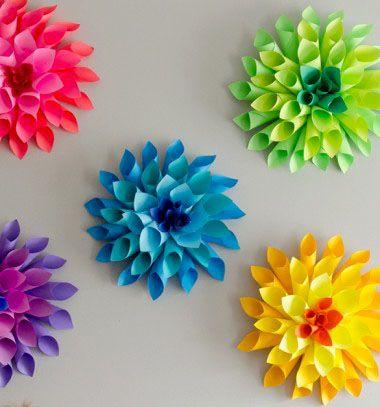 Rainbow paper dahlia flowers // Vidám színes papír dáliák // Mindy - craft & DIY tutorial collection