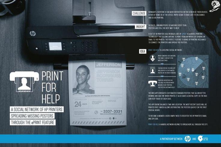 2015 Cyber Gold: Print For Help, Hewlett-Packard Brasil and FCB Brasil, São Paulo