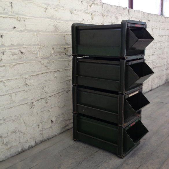 army green industrial metal stacking bins