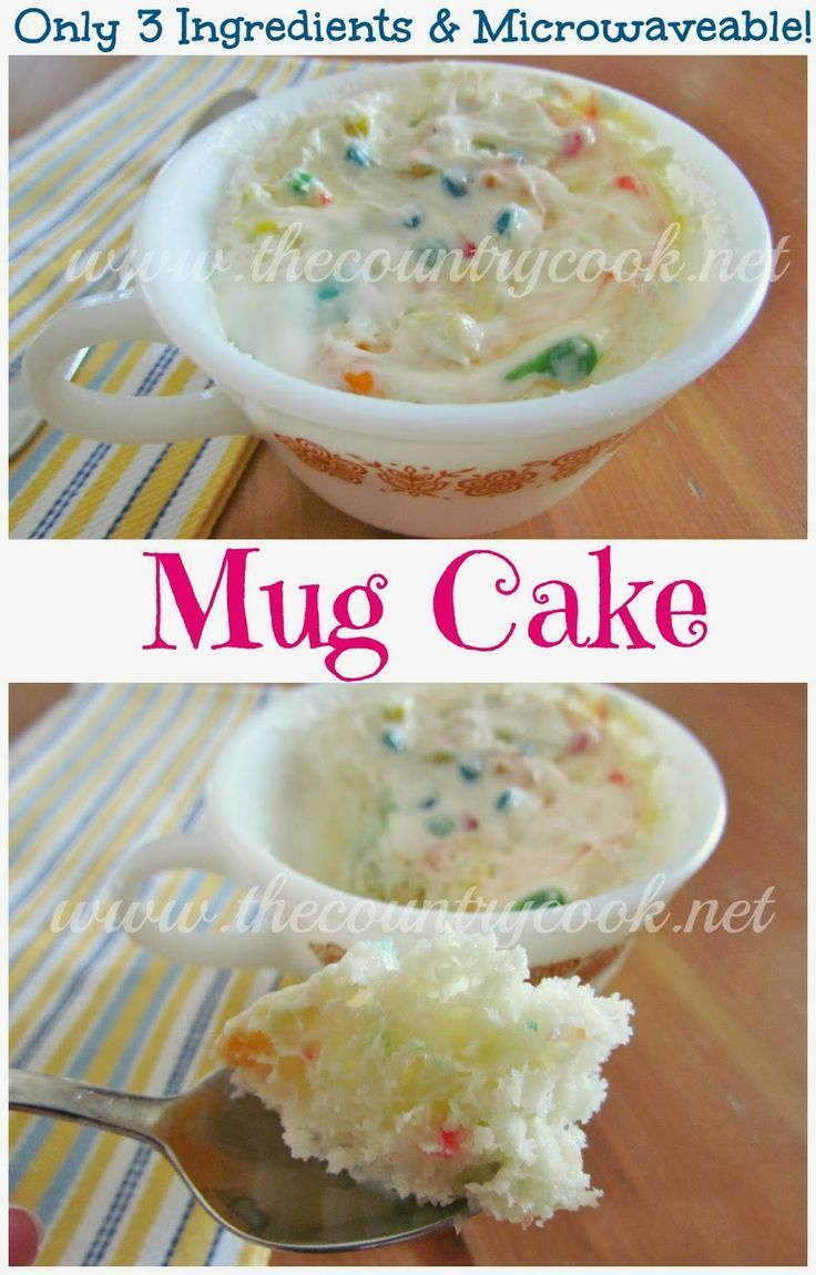 Mug Cake {only 3 Ingredients and Microwaveable - a perfect dessert for just one or two!}