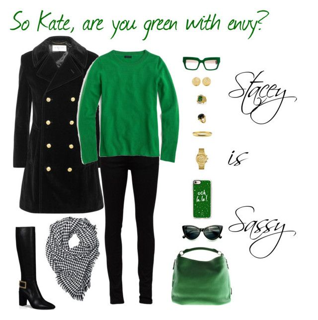 """""""Kate wants black and green."""" by staceyissassy on Polyvore featuring Yves Saint Laurent, J.Crew, Roger Vivier, Casetify, Prada, GUESS, Carolina Bucci, Valentin Magro and Bogner"""