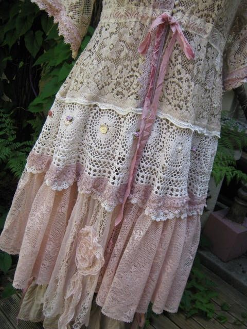inspiring: Kimonos Style, Shabby Chic Style, Vintage Style Clothing, Romantic Clothing Style, Vintage Lace Style Dresses, Sewing Vintage Dresses, Lace Skirt, Lace Dresses, Vintage Tablecloths
