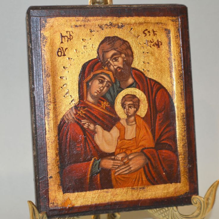 Orthodox Icon Handpainted Greek Byzantine The Holy Family