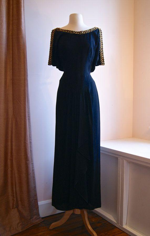 Vintage 40s Jean Carol Grecian Goddess Gown Dress by xtabayvintage, $425.00 (wish I needed fancy dresses!)