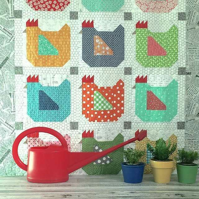 These hens are so much fun! Learn more and get the pattern here: http://quiltingdigest.com/mama-hen-quilt-is-just-one-of-many-possibilities/