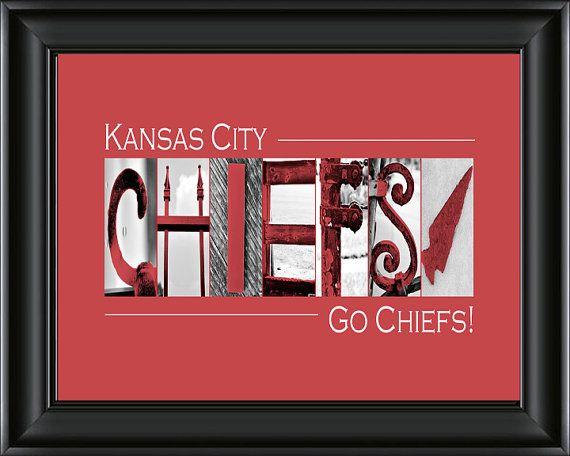 Kansas City Chiefs Football Alphabet Photography Image 8x10 Or 10 X20 Framed