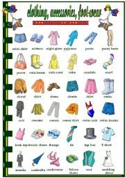 English Worksheets: Clothes acessories   foot-wear (2/2)