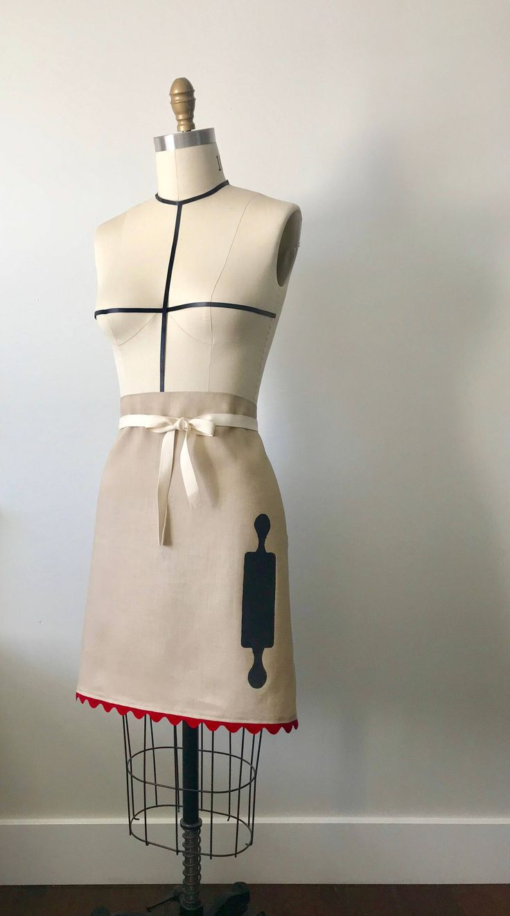 Hand painted rolling pin bistro apron by CocoThePittie on Etsy https://www.etsy.com/listing/598140713/hand-painted-rolling-pin-bistro-apron