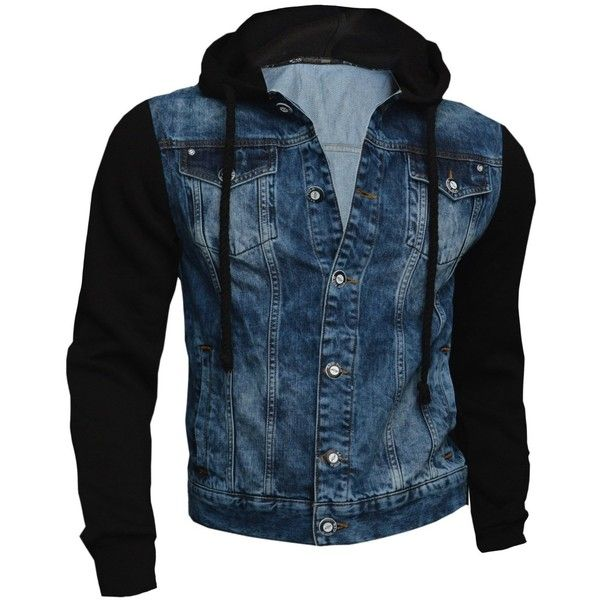 Mens Denim Jacket Biker Casual Worn Style Abrasions Hood Sleeves... ($80) ❤ liked on Polyvore featuring men's fashion, men's clothing, men's outerwear and men's jackets