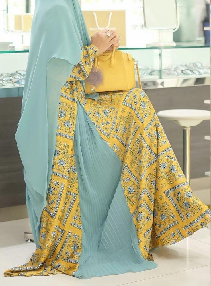 Yellow turqouise abaya
