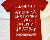 Mens T-shirt: Merry Christmas Ya Filthy Animal, Red X-4X. $7.99, via Etsy.