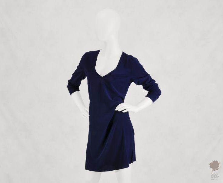 Mykonos Dark Blue -  V-neck Kaftan in dyed silk with long sleeves and side splits