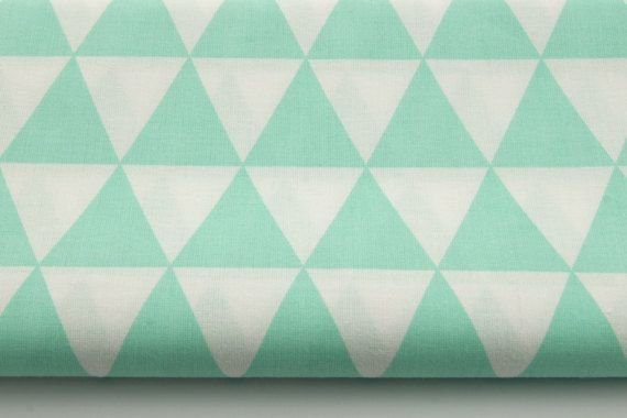 Cotton 100% triangles on a mint  background by the yard, kids fabric, Cotton Fabric, Fat Quarter, half yard, yard.