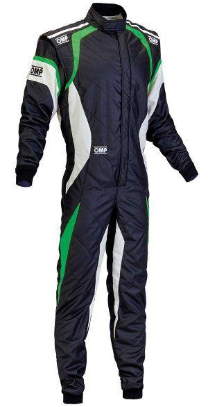 OMP One Evo Race Suit - Black/White/Green