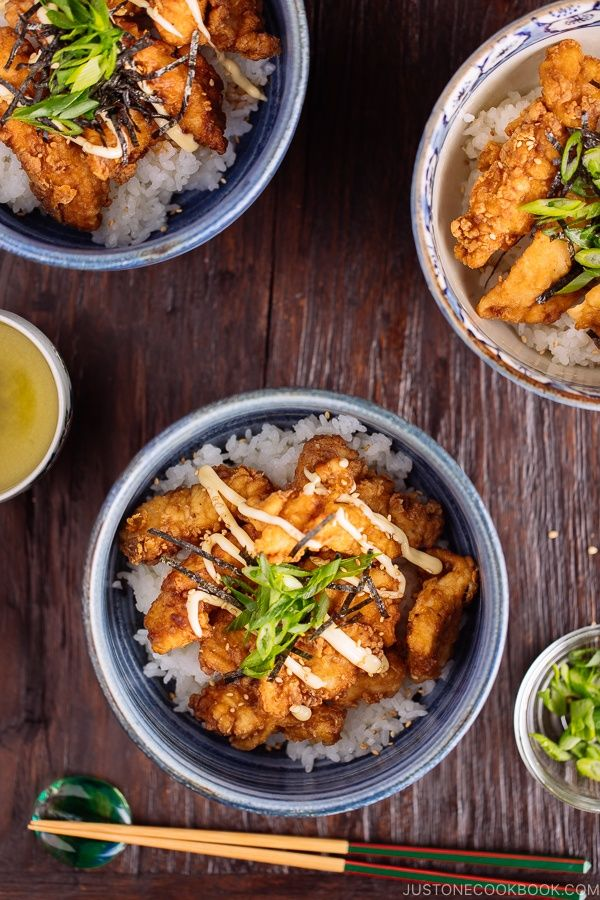 Karaage Rice Bowl 中華風唐揚げ丼 Just One Cookbook Recipe Easy Japanese Recipes Asian Recipes Asian Cooking