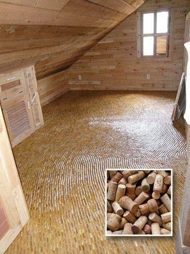 Un pavimento fatto di tappi di sughero riciilati (recycled wine cork floor!)wow!