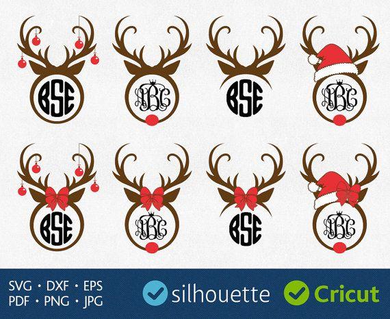 Monogram SVG Reindeer antler bundle frames  vinyl by PlayCut