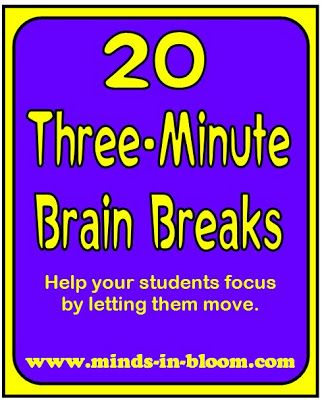 20 Three-Minute Brain Breaks : need some modifications for a secondary classroom, but good ideas to start from