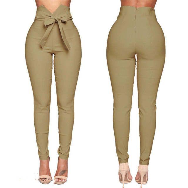 Tienda Online Moda Mujer Pantalones Casuales De Cintura Alta Moda Senoras Bowknot Long Slim Sk Pantalon De Vestir Dama Moda Para Mujer Pantalones De Moda Mujer