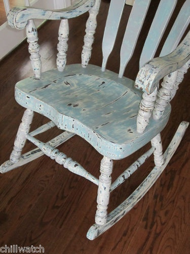 Wonderful Shabby Seashore Beachy Chic Weathered Rocking Chair Annie Sloan Chalk Paint