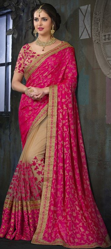 738437 Beige and Brown, Pink and Majenta color family Embroidered Sarees, Party Wear Sarees in Banarasi, Net, Silk fabric with Border, Machine Embroidery, Mirror, Patch, Resham, Stone work with matching unstitched blouse.