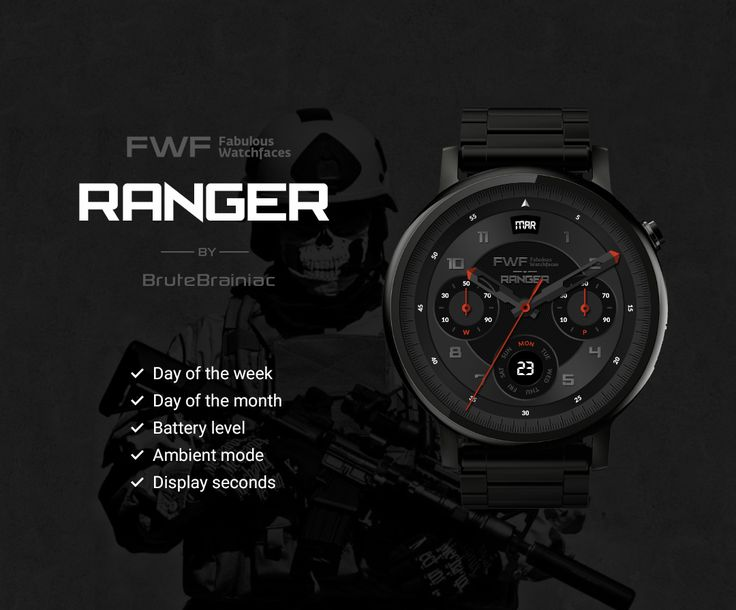 Ranger watch face by BruteBrainiac / #fwf #fabulouswatchfaces #androidwear #moto360 #huaweiwatch #tagheuer #huaweiwatch #smartwatch #watchface