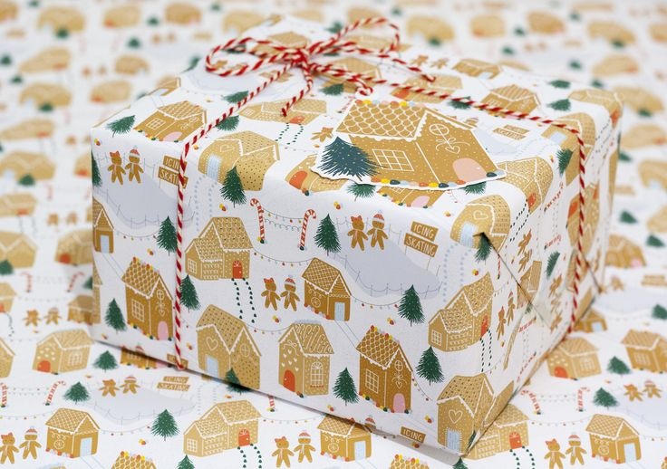 Gingerbread village gift wrap, christmas gift wrap, die cut tags, new home Christmas gift wrap by KnightandGray on Etsy