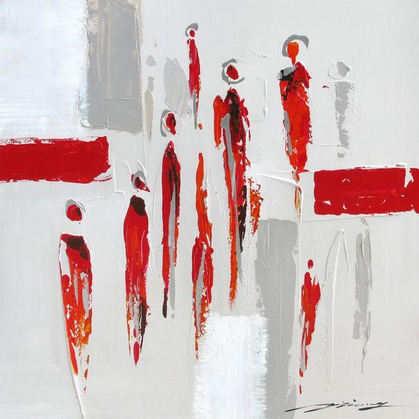 Magnifique tableau abstrait peint à la main rouge gris et blanc 27,6x26,7''
