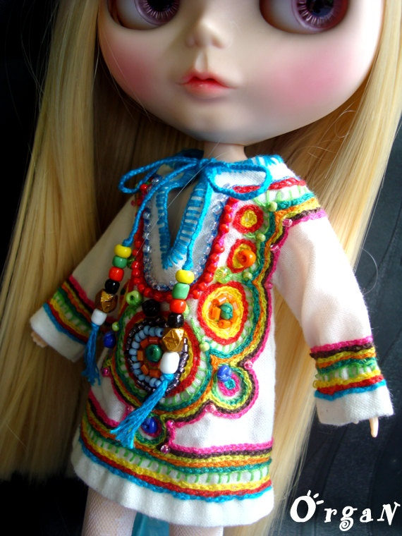 OOAK Little India ART Tunic  CooL ChiC Off white by organ111, $39.00